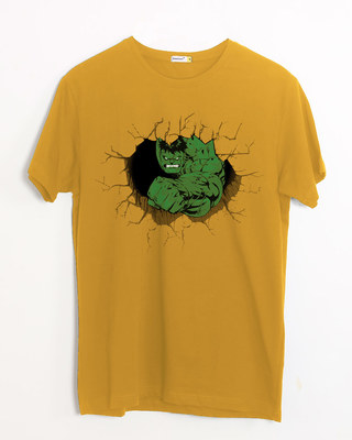 Shop Hulk Smash Wall Half Sleeve T-Shirt (AVL)-Front