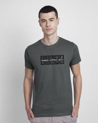 Shop Human After All Half Sleeve T-Shirt Nimbus Grey-Front