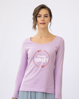 Shop Hungry Always Scoop Neck Full Sleeve T-Shirt-Front