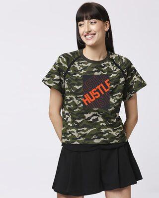 Shop Hustler ! Women's Raglan Boyfriend T-Shirt-Front