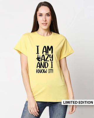 Shop I Am Lazy And I Love It Boyfriend T-Shirt-Front