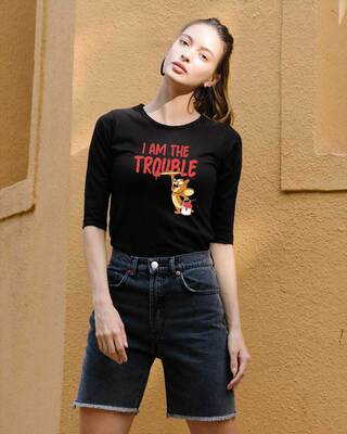 Shop I Am The Trouble Round Neck 3/4th Sleeve T-Shirt (TJL) Black-Front