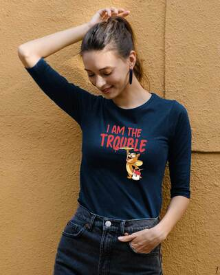 Shop I Am The Trouble Round Neck 3/4th Sleeve T-Shirt (TJL) Navy Blue-Front