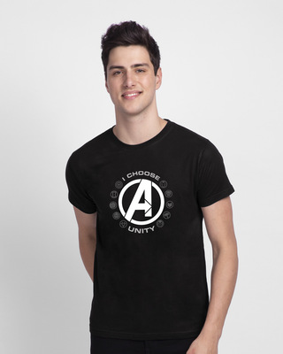 Shop I Choose Unity Half Sleeve T-Shirt (AVL) Black-Front
