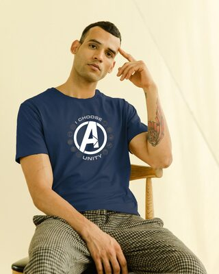Shop I Choose Unity Half Sleeve T-Shirt (AVL) Navy Blue-Front