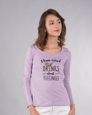 Shop I Have Mixed Feelings Scoop Neck Full Sleeve T-Shirt-Front