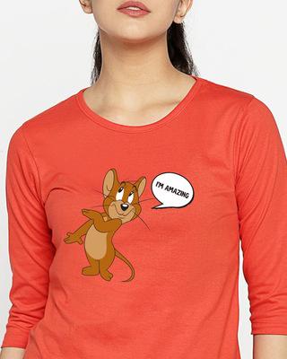 Shop I'm Amazing  Round Neck 3/4 Sleeve T-Shirts (TJL)-Front