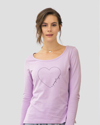 Shop I Purple You Heart Scoop Neck Full Sleeve T-Shirt Lilac Breeze-Front