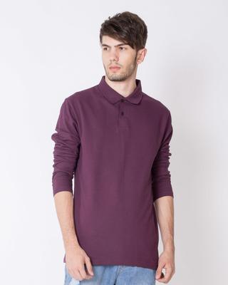 Shop Ibiza Purple Full Sleeve Pique Polo T-Shirt-Front