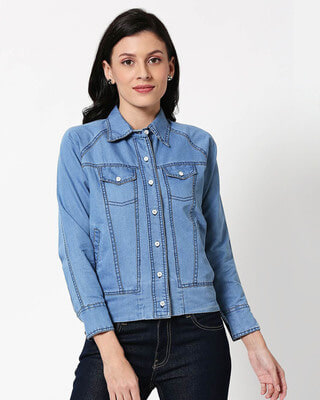 Shop Ice Blue Denim Shacket-Front