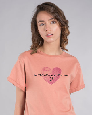 Shop Imagine Heart Boyfriend T-Shirt-Front
