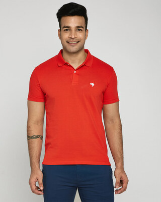 Shop Imperial Red-White Contrast Collar Pique Polo T-Shirt-Front