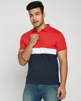 Shop Imperial Red-White-Dark Navy Triple Block Polo T-Shirt-Front
