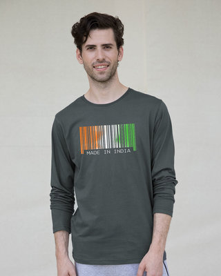 Shop India Barcode Full Sleeve T-Shirt-Front