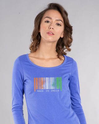 Shop India Barcode Scoop Neck Full Sleeve T-Shirt-Front