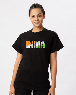 Shop India Tricolor Boyfriend T-Shirt-Front