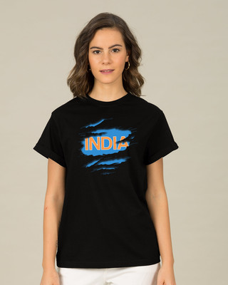 Shop Indian Blue Boyfriend T Shirt Front
