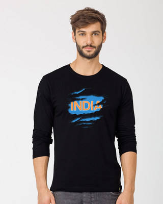 Shop Indian Blue Full Sleeve T-Shirt-Front