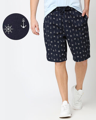 Shop Men's Indigo Printed Woven Shorts-Front