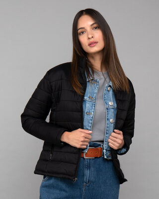 Shop Ink Black Plain Puffer Jacket-Front