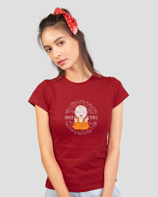 Shop Inner Peace  Half Sleeve Printed T-Shirts Bold Red-Front