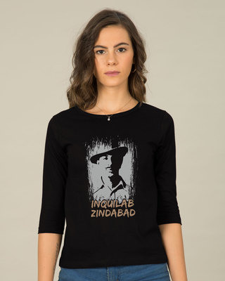 Shop Inquilab Zindabad Round Neck 3/4th Sleeve T-Shirt-Front