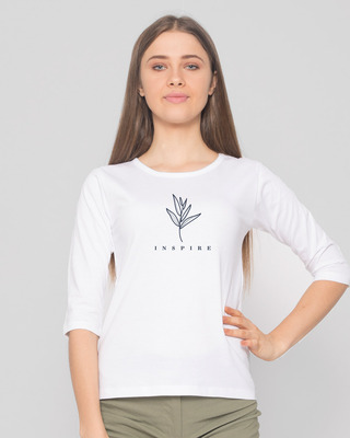 Shop Inspire Leaf Round Neck 3/4 Sleeve T-Shirts White-Front