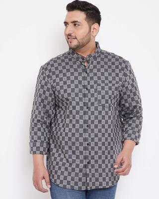 Shop Instafab Plus Men Plus Size Checks Stylish Casual Shirts-Front
