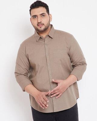 Shop Instafab Plus Men Plus Size Solid Stylish Casual Shirts-Front