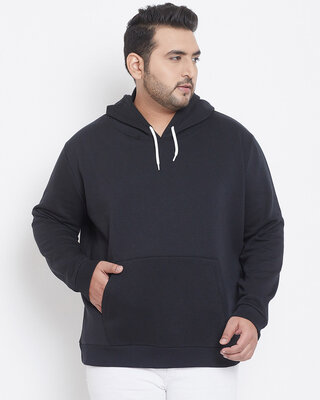 Shop Instafab Plus Men Plus Size Solid Stylish Casual Winter Hooded Sweatshirts-Front
