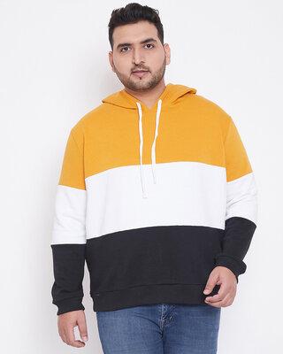 Shop Instafab Plus Men Plus Size Colourblocked Stylish Casual Winter Hooded Sweatshirts-Front