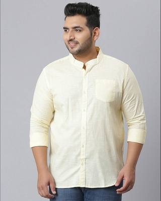 Shop Instafab Plus Men Solid Stylish Full Sleeve Casual Shirts-Front