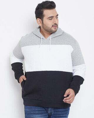 Shop Instafab Plus Men Plus Size Colourblock Stylish Casual Winter Hooded Sweatshirts-Front
