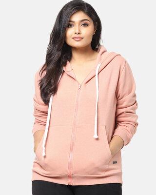 Shop Instafab Plus Women Plus Size Solid Stylish Casual Winter Zipper Hooded Sweatshirts-Front
