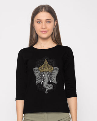 Shop Intense Ganesha Round Neck 3/4th Sleeve T-Shirt-Front