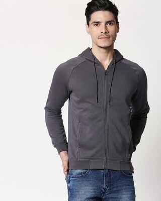 Shop Iron Gate Stylised Panel Zipper Hoodie-Front