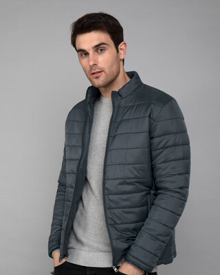 Shop Iron Grey Plain Puffer Jacket-Front
