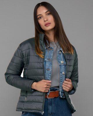 Shop Iron Grey Plain Puffer Jacket-Front