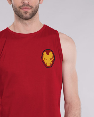 Shop Iron Man Printed Badge Vest (AVL)-Front