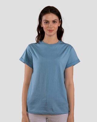 Shop Island Blue Boyfriend T-Shirt-Front