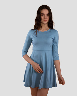 Shop Island Blue Flared Dress-Front