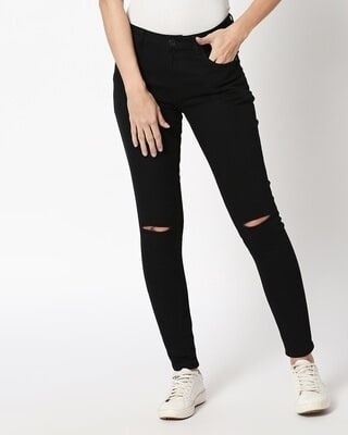 Shop Jade Black Denim Pants-Front