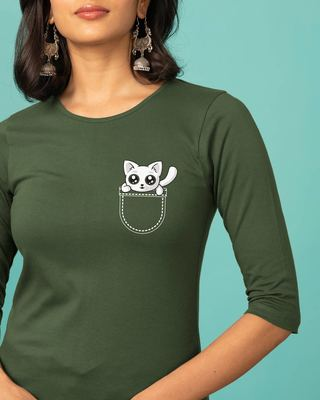 Shop Jeb Mein Billi Round Neck 3/4th Sleeve T-Shirt-Front