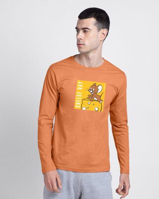 Shop Jerry's cheese day  Full Sleeve T-Shirt Vintage Orange (TJL)-Front