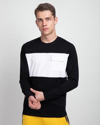 Shop Jet Black & White 90's Vibe Cargo Pocket T-Shirt-Front