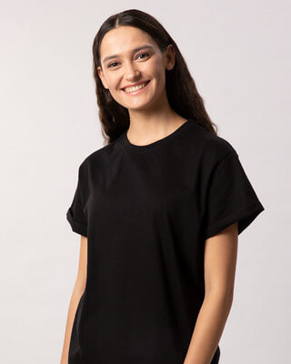 Buy Jet Black Boyfriend T-Shirt Online India @ Bewakoof.com