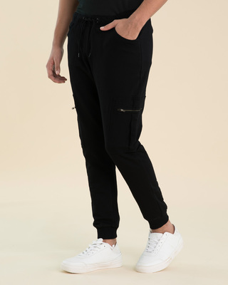 Shop Jet Black Cargo Zipper Fleece Joggers-Front