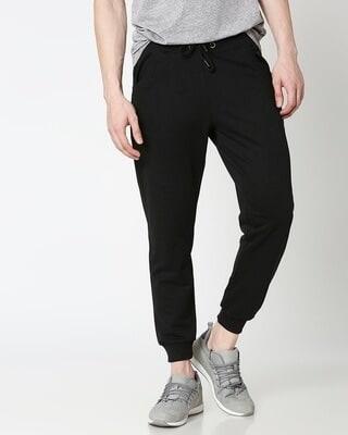 Shop Jet Black Casual Jogger Pant-Front