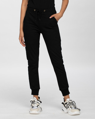 Shop Jet Black Casual Jogger Pants-Front