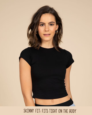 Shop Jet Black Crop Top-Front